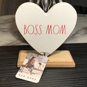 "Rae Dunn Metal Heart ""Boss Mom"" Sign Mother's Day"